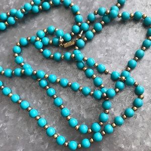 Vintage turquoise-colored beaded necklace